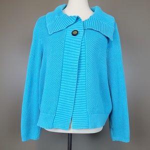 Liz Claiborne Bright Blue One Button Cardigan S XL